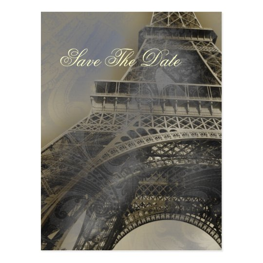 Eiffel tower Parisian french wedding Save the Date