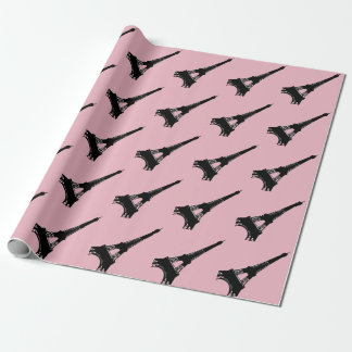 Eiffel Tower Parisian pink black Wrapping Paper