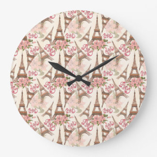 Eiffel Tower Pattern Large Clock