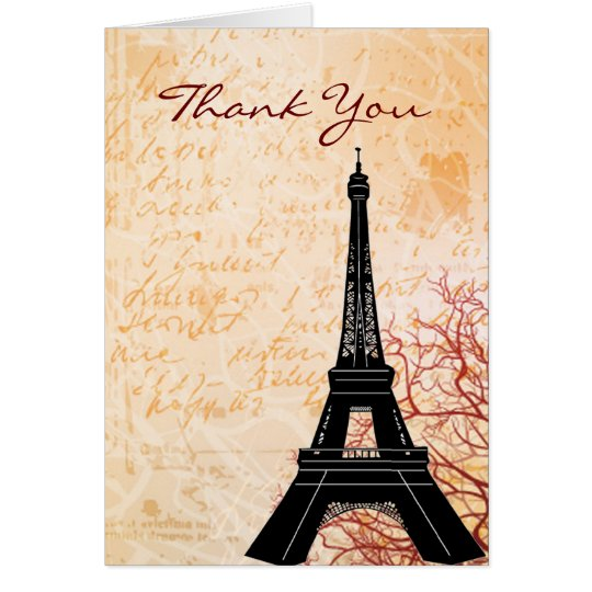 Eiffel Tower Peach Thank You Note card