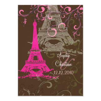 Eiffel Tower/pink/chocolate Wedding Invitations