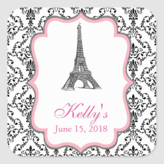 Eiffel Tower Pink Paris Bridal Shower Favor Label