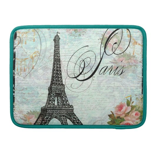 Eiffel Tower & Pink Roses Macbook Pro Case Sleeves For MacBooks