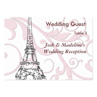 Eiffel Tower Pink Scroll Reception Table cards Business Card Templates