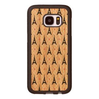 Eiffel Tower Polka Dots & Hearts Pattern Wood Samsung Galaxy S7 Case