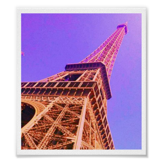 Eiffel Tower Purple & Orange Poster