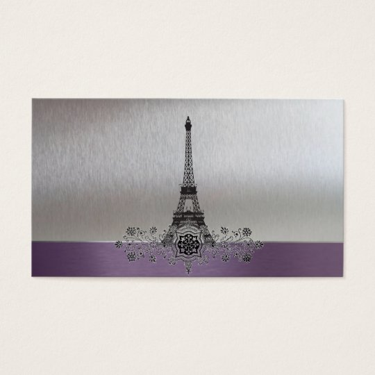 Eiffel Tower Purple Silver Gift Registry Cards