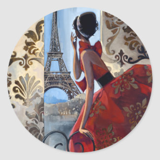 Eiffel Tower Red Dress Let s Go Round Sticker