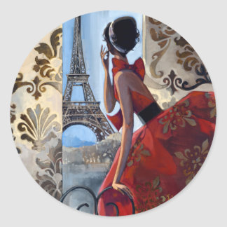 Eiffel Tower, Red Dress, Let's Go Classic Round Sticker