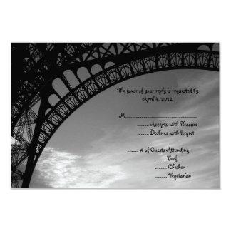 Eiffel Tower Reply Card with Menu Options 9 Cm X 13 Cm Invitation Card