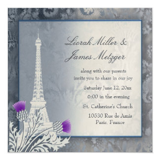 Eiffel Tower Scottish thistle golden metallic Card