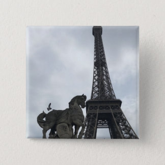 Eiffel Tower Silhouette Button