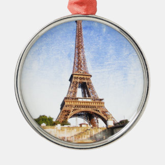 Eiffel Tower Silver-Colored Round Decoration