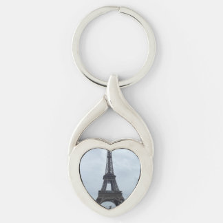 Eiffel Tower Silver-Colored Twisted Heart Key Ring