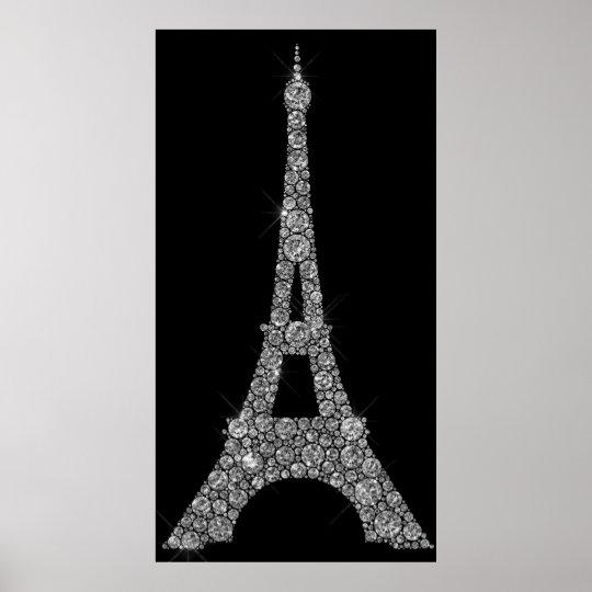 Eiffel Tower Silver Gray Swarovski Crystals Paris Poster