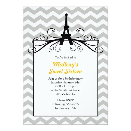Eiffel Tower Sweet 16 Party Invitations in Yellow