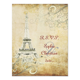 Eiffel Tower + swirls  Wedding Invitations