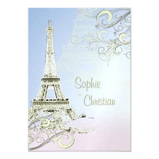 "Eiffel Tower + swirls  Wedding Invitations 5"" X 7"" Invitation Card"