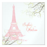 Eiffel Tower + swirls  Wedding Invitations 13 Cm X 13 Cm Square Invitation Card