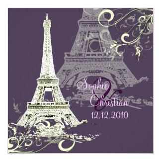 "Eiffel Tower + swirls  Wedding Invitations 5.25"" Square Invitation Card"