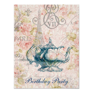 eiffel tower tea pot  vintage birthday party 11 cm x 14 cm invitation card