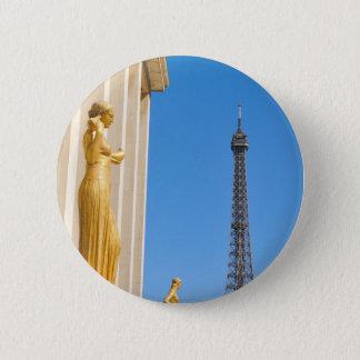 Eiffel Tower (Tour Eiffel) in Paris, France 6 Cm Round Badge