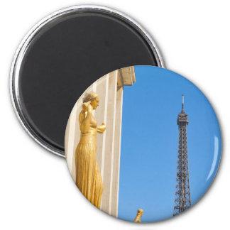 Eiffel Tower (Tour Eiffel) in Paris, France 6 Cm Round Magnet