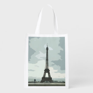 Eiffel Tower under Cloudy Skies Reusable Grocery Bag