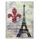 Eiffel Tower Vintage Art Notebook