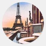 Eiffel Tower Vintage Hand Coloured Birds Eye View Round Sticker