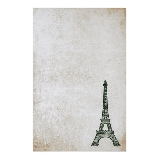 Eiffel Tower Vintage Paris Parchment Retro Stained Stationery