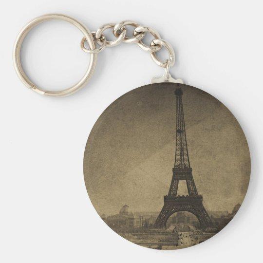 Eiffel Tower Vintage Stereoview Basic Round Button Key Ring