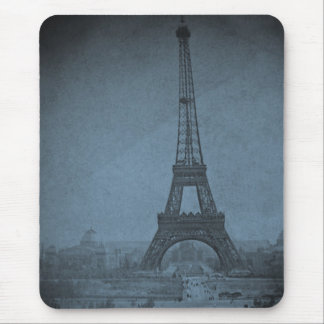 Eiffel Tower Vintage Stereoview Cyan Tone Mouse Mat