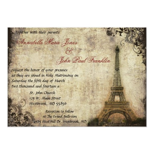 Eiffel Tower Vintage Wedding Invitation