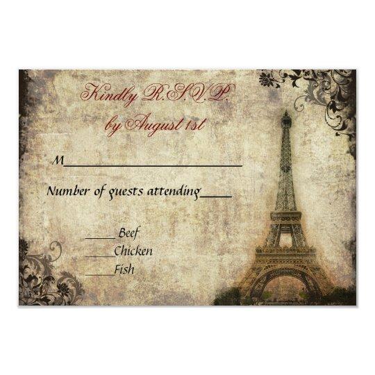 Eiffel Tower Vintage Wedding R.S.V.P. Card