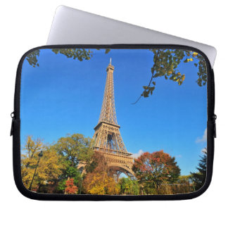 Eiffel Tower with autumn trees and leaves Laptop Sleeve