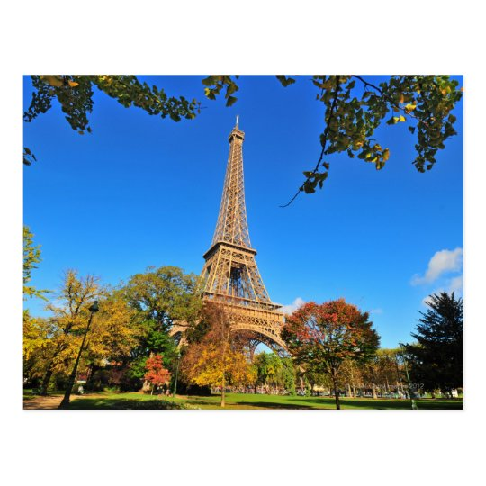 Eiffel Tower with autumn trees and leaves Postcard