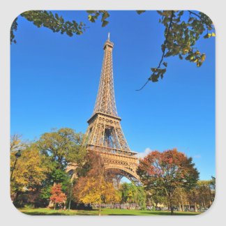 Eiffel Tower with autumn trees and leaves Square Sticker