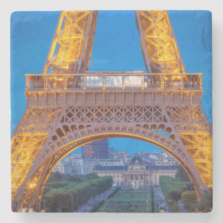 Eiffel Tower with Ecole Militaire beyond Stone Beverage Coaster