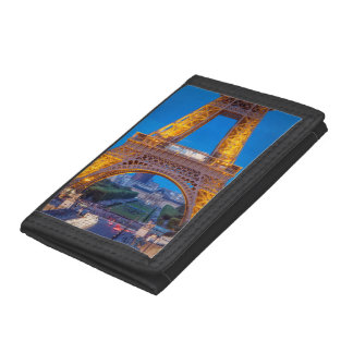 Eiffel Tower with Ecole Militaire beyond Trifold Wallets
