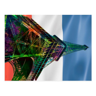 EIFFEL TOWER WITH FRENCH FLAG - POSTCARD