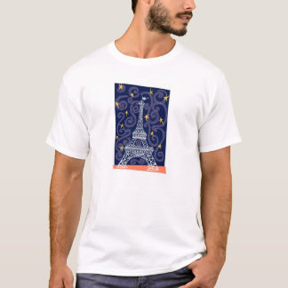 Eiffel Tower with Stars and Swirls T-Shirt