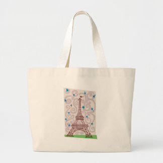 Eiffel Tower with Swirls and Stars Large Tote Bag