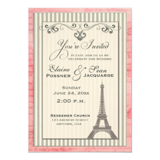 Eiffel tower with swirls and stripes 13 cm x 18 cm invitation card