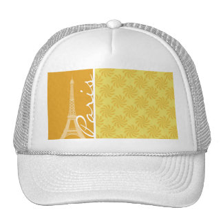 Eiffel Tower Yellow Orange Paris Hats