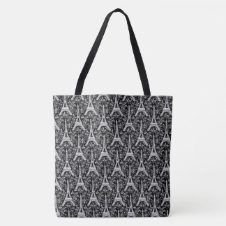 Eiffel Towers and Flowers Black Tote Bag