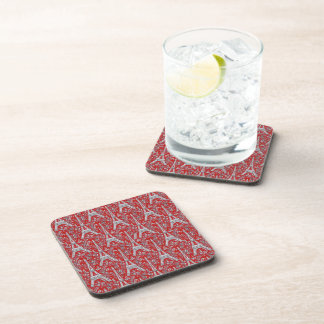 Eiffel Towers and Flowers Red Drink Coaster