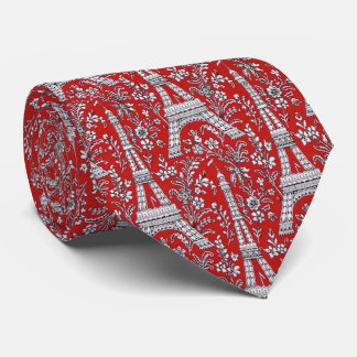 Eiffel Towers and Flowers Red Tie