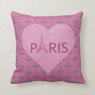 Eiffel Towers Pattern | Paris Pink Heart Cushion