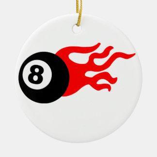 Eight Ball and Flames Christmas Ornament